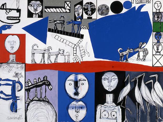 猪熊弦一郎《顔、犬、鳥、》 1991年 丸亀市猪熊弦一郎現代美術館蔵 ©The MIMOCA Foundation