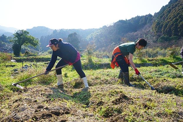 畑の開墾もワークショップの一部。