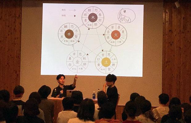 杉本さんの著書『こころ漢方』の出版を記念して、東京〈vacant〉で開催された精神科医・星野概念さんとのトークイベント。(写真提供:舘野太一)