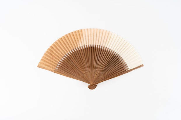 emido 和紙草木染扇子焼煤骨7寸5分 ビンロウジ/桜/栗 銅媒染