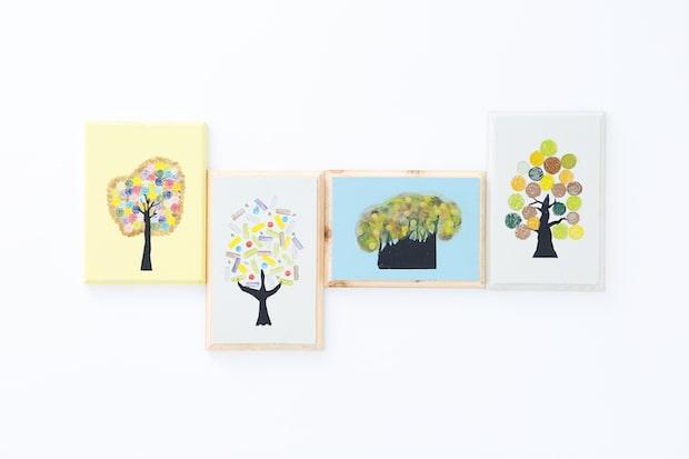 いろいろな色と形のスタンプを使って木を描く
