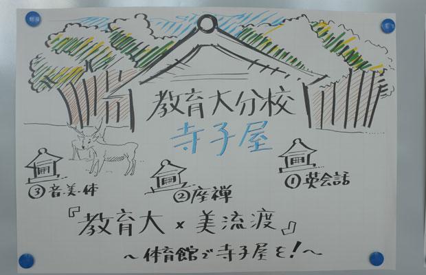 岡田住職の話からグループトークで上がったのは「教育大分校 寺子屋」というプラン。模造紙にプレゼンシートをつくり、学生が中心となって発表を行った。
