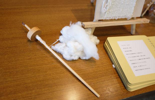 長沼で糸紡ぎや衣服のつくり方を伝える活動をしている〈糸工房ヨル〉による、糸紡ぎワークショップも行われた。
