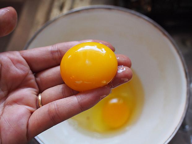 卵黄を手に取る