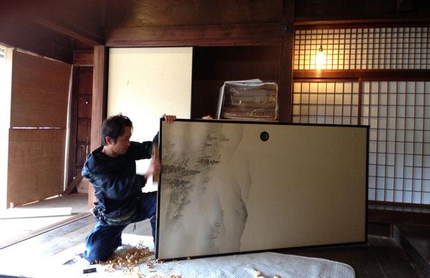 ふすまに日本画用の高知麻紙を張ってもらいました。