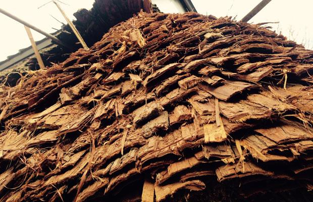 星野焼 源太窯の屋根葺き替え。杉皮を差し込むのが地域の特徴。