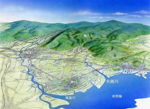 有明海からの俯瞰図をみても、奥八女には緑の山々ばかり!(矢部川流域景観計画より/作成:九州大学出口研究室(当時))