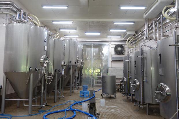 2000リットルのタンクが並ぶ醸造所。ひとりでつくっているためすべてのラインナップを維持するのが難しく、入れ替わりで商品が販売されます。その分、季節ごとに違うビールが楽しめるのが魅力。