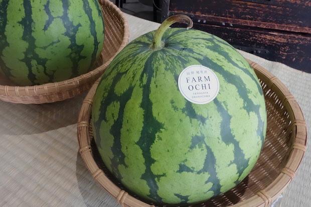 8月限定の出店者〈FARM OCHI〉のすいか。カットしてくれるので、食べられる分量だけ買うことができます。