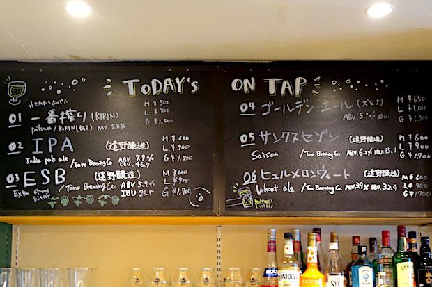 1日に提供されるビールは6種類。メニューは1か月ごとに変わります。