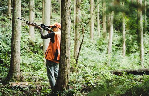 木の陰などで待ち伏せ、猟犬に追われ獲物が逃げてきたら、銃を構える。
