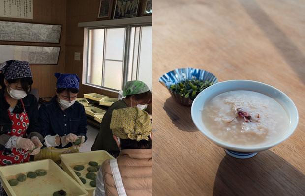 (左)みんなで餅に餡をつめて丸めます。(右)茶粥とお漬物。(撮影:浅田克哉)