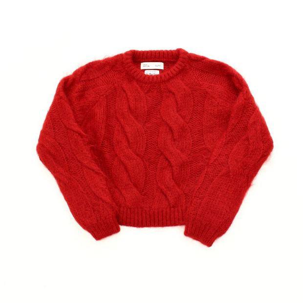 「Deadstock yarn overdye mohair knit」のレッド