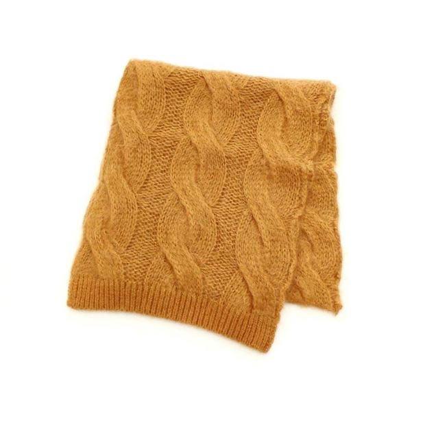「Deadstock yarn overdye mohair knit muffler」のキャメル