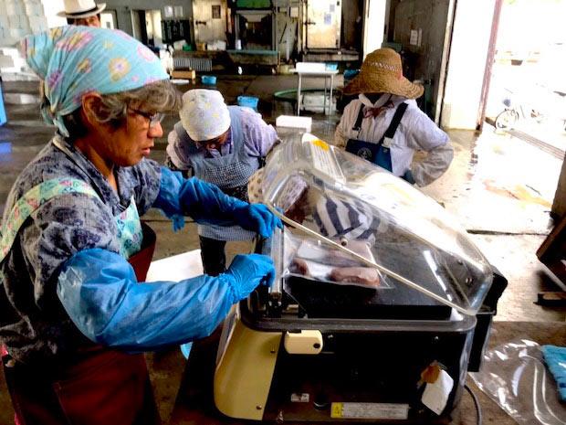 粟島のお母ちゃんたちが新鮮な魚を真空パックに詰める様子。現在このプロジェクトに6名の方が手を挙げ、活動されています。
