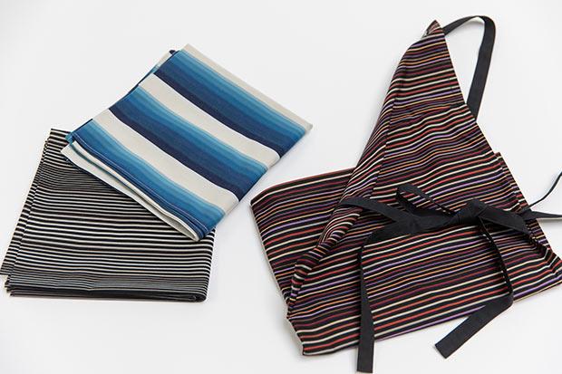 小倉織の大きな特徴である「縞」が際立つ、風呂敷&エプロン。