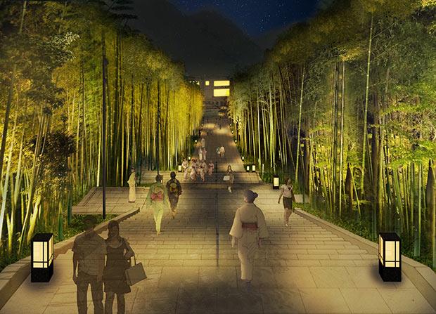 プランで示した夜間照明。これは新たに誕生する「竹林の階段」。温泉街の玄関口となる駐車場から音信川まで結ぶ。