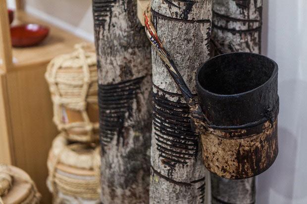 樹液採取のため傷をつけた漆の木。木が自らの傷を治そうと出てくるのが樹液で、毎日傷をつけると枯れてしまうため、約4日置きに漆掻きを行う。