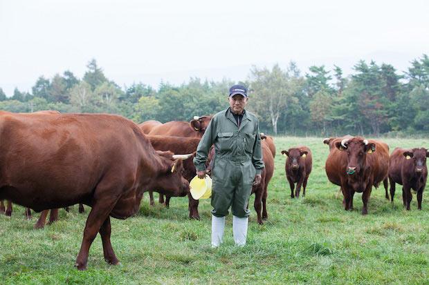 浄法寺町牧野組合連合会の会長・斉藤さん。夏は葉タバコの生産や、牛の餌となる採草を行い、冬は牛舎で牛を育てます。二戸では、牧野組合連合会に委託して種牛や採草の管理・販売を行ってもらうなど、畜産支援が盛ん。