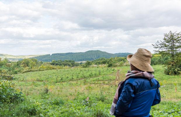 美流渡からほど近いエリアに8ヘクタールの山の土地を購入した來嶋さん。今後の使い道は「ノープラン」だそう。それでも、山が荒れたまま放置されているより、誰かがその土地を引き継ぐことが大事なのでは、と話します。
