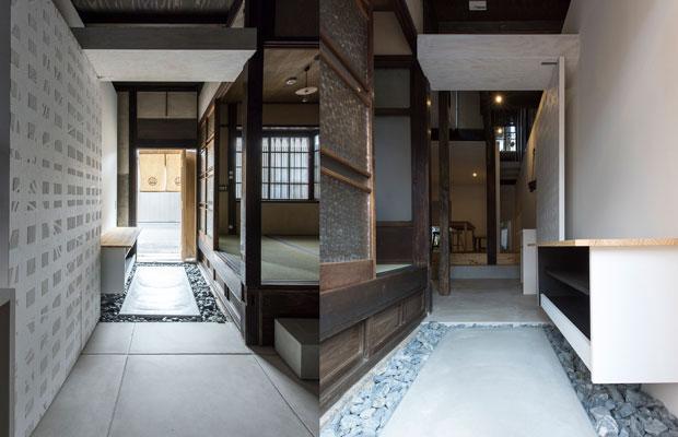 左:右に見える部屋は既存のまま。/右:古いものと新しいものが混在した空間。(撮影:松村康平)