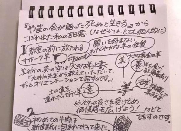 友人が、わたしの本から連想を広げて記憶をたどってくれたメモ。こんなふうに手書きと手書きのコミュニケーションが生まれるのもおもしろいと思った。