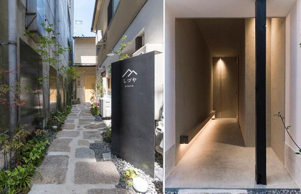 庭としてのアプローチ(左)とHANAREのアプローチ(右)。(撮影:松村康平)