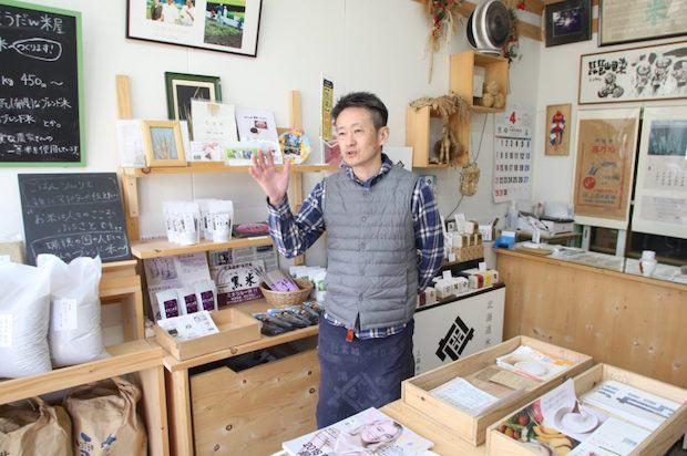 ブレンド米の魅力や楽しみ方を教えてくれる上森米穀店の鳥越さん。