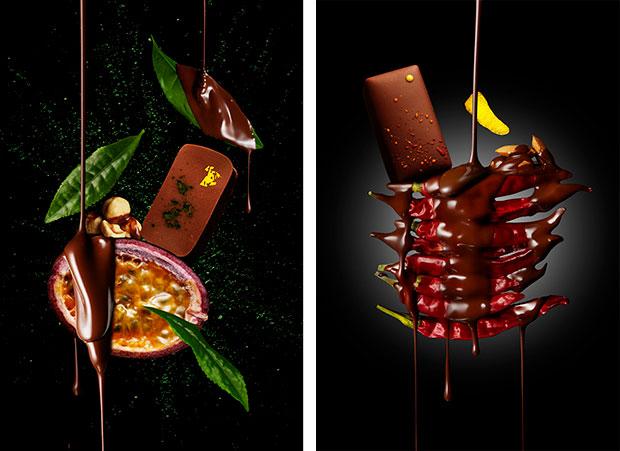 〈パティシエ エス コヤマ〉の〈抹茶&パッションのプラリネ〉(左)と〈YUZU エスペレットピーマンの刺激と共に〉(右)。
