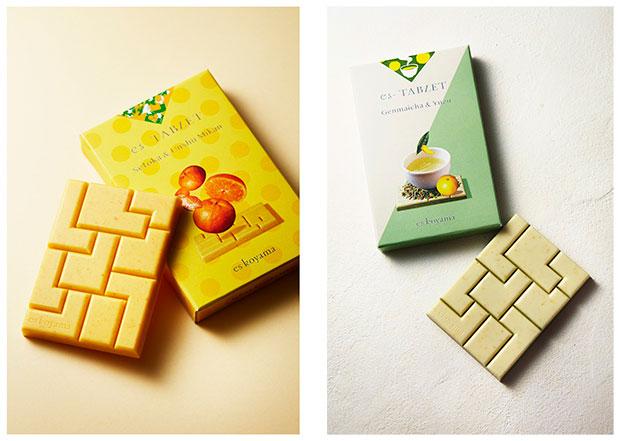 〈es-TABLETシリーズ〉全5種各1458円(税込)。写真は左から「玄米茶&柚子」、「せとか&温州みかん」。お取り寄せ可。