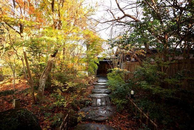 民宿ふらっとの正面玄関に通じる庭。
