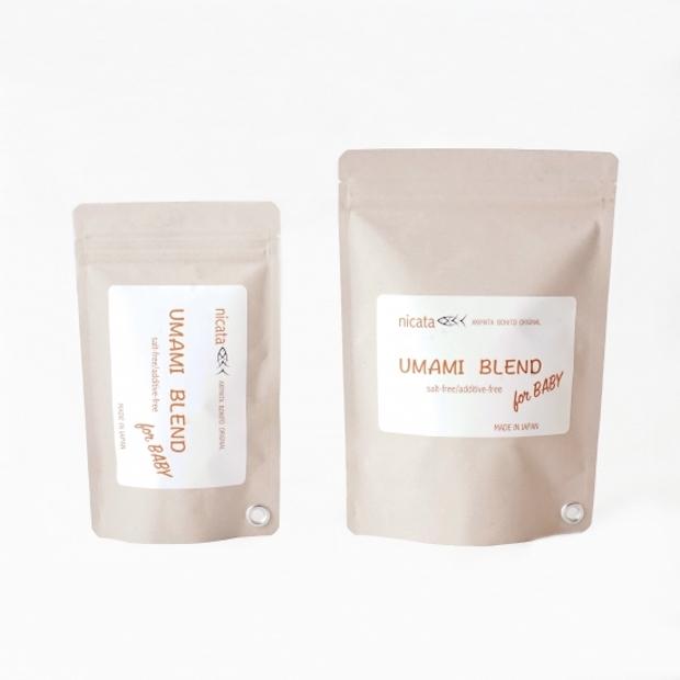 離乳食アドバイザーが監修した出汁は鰹とこんぶがブレンドされたもの。〈nicata for BABY UMAMI BLEND S〉 5.5グラムx 10袋入り 1,296円(税込)、〈nicata for BABY UMAMI BLEND L〉5.5グラムx 20袋入り 2,160円(税込)