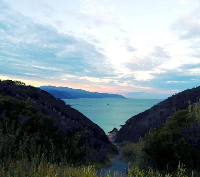 高台から見た下田の海