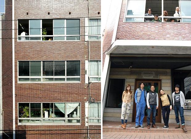 〈まちでつくるビル〉外観(左)と、プロジェクト立ち上げメンバー+初期入居者(右)。