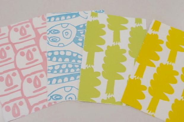 左から〈moai〉、「タコ」を描いた〈tacco〉、「ワカメ」を描いた〈WAKAMEKKO〉。どれも南三陸の名物。