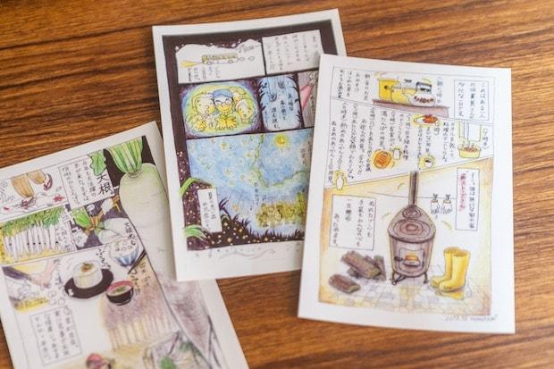 ももこさんが描いたポストカード。宿泊者にプレゼントすることもあるそう。