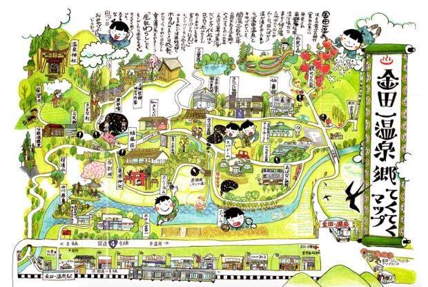 ももこさんが描いた〈金田一温泉郷 てくてくマップ〉。
