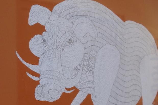 miwakoさんの『ふしぎな、ふしぎな、十二支』の一点。小さな点の連続で表現されている精巧な作品。