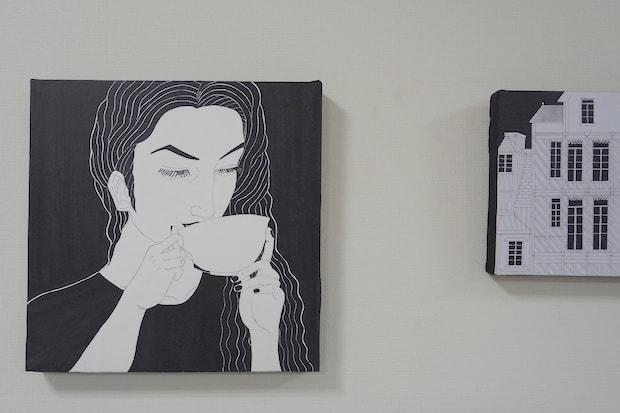erinaさん作『MONOTOWN』。自身が好きなパリの街並みを、マーカーとボールペンのみを使用し白黒で表現。