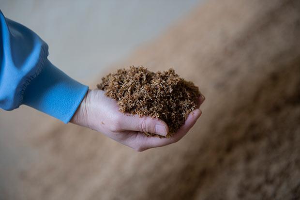間伐材を細かく砕いて粉状にし、1年以上熟成させてつくられる木の土。