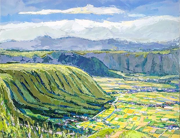 阿蘇の大観峰を描いた油絵は、夏の緑豊かな大地の生き生きとした鼓動が聞こえてきそうだ。