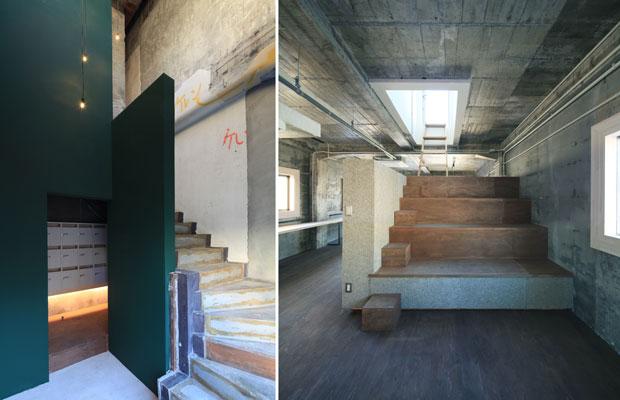 左:1階と2階をつなぐ吹き抜けとなった階段室の黒板塗装壁面と既存階段。(撮影:干田正浩)/右:4階ワークスペースの「ハコ」。屋上への階段兼ひな壇ベンチ。(撮影:干田正浩)