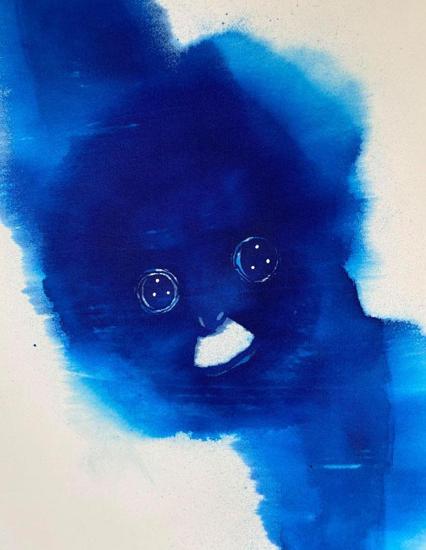 MAYAさんが描いた青いオランウータンの一部。