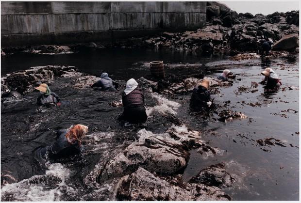ウェットスーツの上にカッパを着て漁をする女性たち