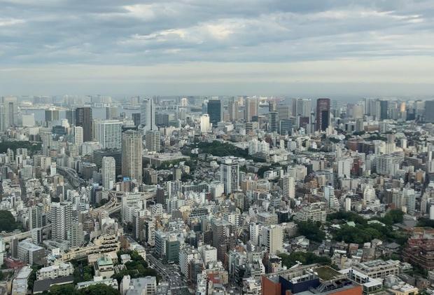 都心の高層ビルから東京を眺めた。