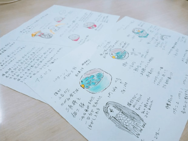後藤さんの開発メモとデザイン画。アマビエ姫は芋餡、お地蔵様とアマビエ様は小豆こし餡が入っている。