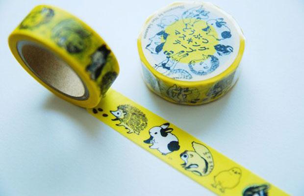 奈緒さんのオリジナルグッズのひとつ、動物が描かれた〈どうぶつマスキングテープ〉(現在は売り切れ)。