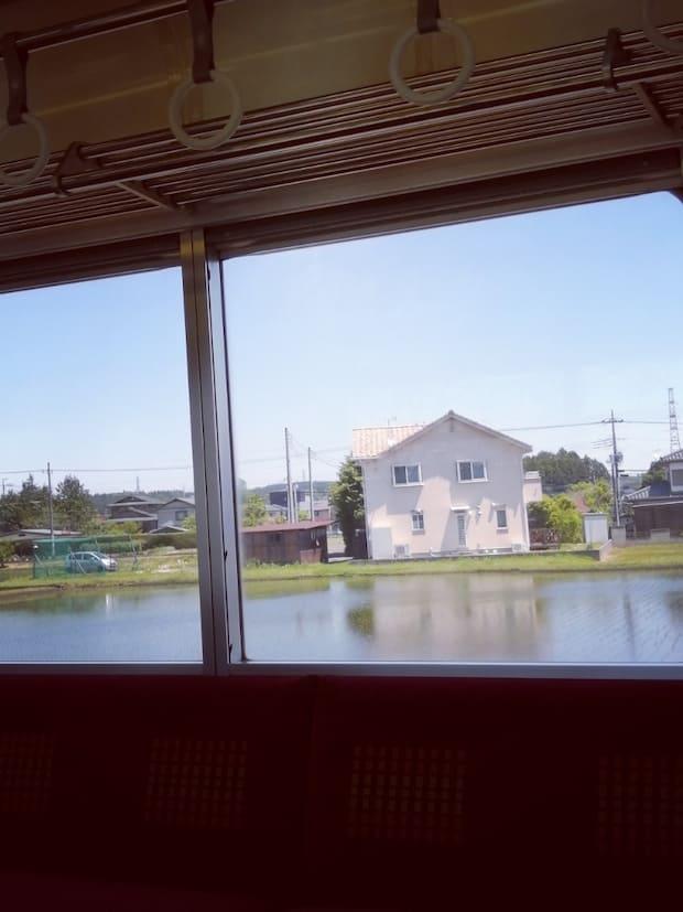 住宅地のすぐ傍にもある田んぼ。窓の左右どちら側からでも水田が見られます。