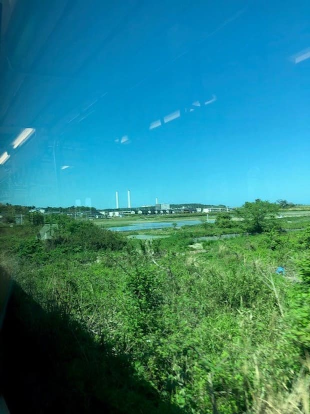火力発電所の煙突は広野町のシンボルです。
