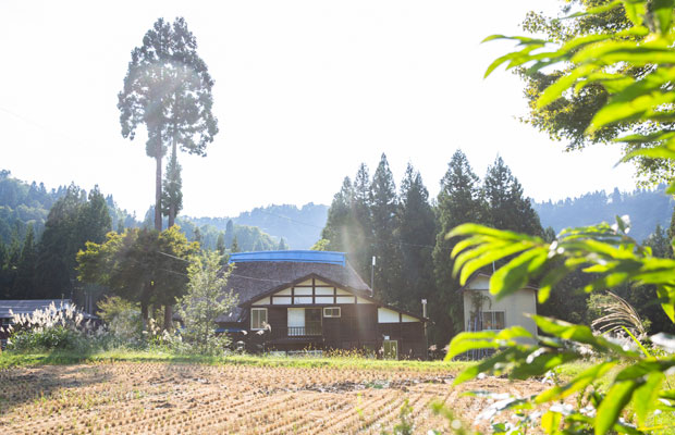 のどかな田園風景のなかに佇む〈茅屋や〉。